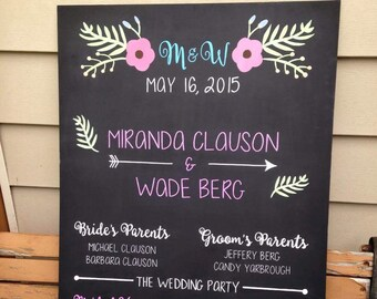 Wedding Party/Program Sign - 24x36 Event or Wedding Chalk Signs - Custom hand lettered signs