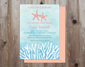 Under the Sea Baby Shower Invitations A7 - Watercolor - Nautical Baby Shower