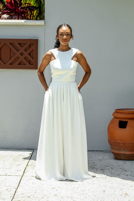 White Sleeveless Bridal Jumpsuit Long Pleat Wide Leg Etsy