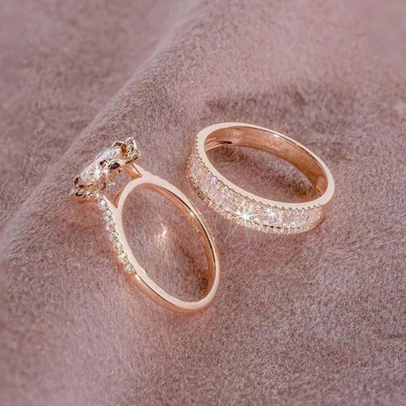 Rose Gold Ring Engagement Ring Rose Gold Diamond Ring Rose Gold Diamond Engagement Ring 2 PC Set Bridal Ring Diamond Ring Wedding Ring