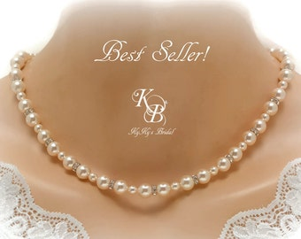 Bridal Necklace ~ Pearl Wedding Jewelry ~ Swarovski Pearl Bridal Necklace ~ Bridesmaid Necklace ~ Pearl and Crystal Necklace ~ Pearl Jewelry