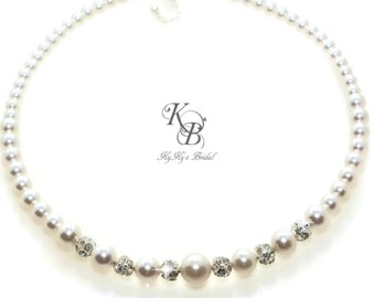 Pearl Bridal Necklace, Rhinestone Pearl Necklace, Wedding Necklace, Bling Pearl Jewelry, Swarovski Pearl Bridal Necklace