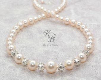 Bridal Necklace Wedding Necklace Swarovski Pearl Necklace Pearl and Rhinestone Necklace Bridal Jewelry Wedding Jewelry FREE Gift Box