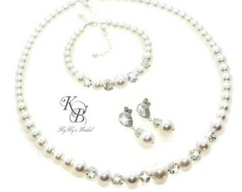 Wedding Jewelry ~ Bridal Jewelry SET ~ Swarovski Pearl Jewelry ~ Pearl and Rhinestone Jewelry SET ~ Pearl Bridal Jewelry ~ Wedding Jewelry