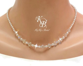 Bridal Necklace, Bridal Jewelry, Pearl and Crystal Bridal Necklace, Bridal Jewellery, Wedding Necklace