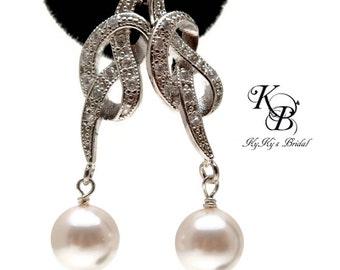Wedding Earrings, Love Knot Earrings, Cubic Zirconia Earrings, Cubic Zirconia Jewelry, Wedding Jewelry, Bridal Earrings, Bridal Jewelry