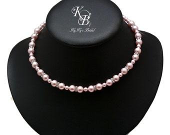 Bridesmaid Necklace Choice Of Color Wedding Jewelry Pearl Necklace Pearl Wedding Jewelry Pearl and Crystal Necklace Bridesmaid Jewelry