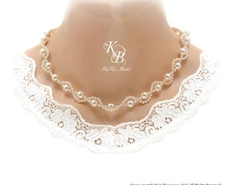 Pearl Bridal Necklace Twisted Pearl Necklace Pearl Bridal Jewelry Pearl Wedding Jewelry Pearl Necklace Bridal Jewelry Prom Necklace