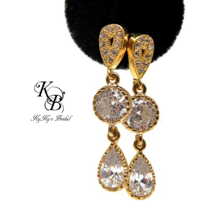Cubic Zirconia Earrings Wedding Jewelry Teardrop Earrings Bridal Earrings Elegant Earrings Gold Earrings Bridal Jewelry Wedding