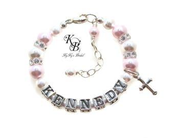 Personalized Baby Bracelet Pink Baby Bracelet Pink Bracelet Baptism Bracelet Baptism Gift Baby Bracelet Baby Gift Christening Gift