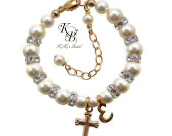 Gold Baby Bracelet Baptism Bracelet Christening Gifts Baptism Gift Baby Gift Keepsake Bracelet Baby Bracelets Personalized Baby Gift