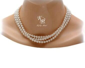 Multi Strand Pearl Necklace, Pearl Bridal Necklace, Chunky Necklace, Three Strand Necklace, Prom Jewelry, Wedding Jewelry, Bridal Jewelry