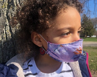 CHILDRENS  face mask 100% cotton handcrafted eco friendly reversible washable reusable elastic ear band comfortable pocket for filter