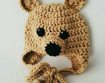 Teddy Bear Crochet Baby Hat for newborn to 3m