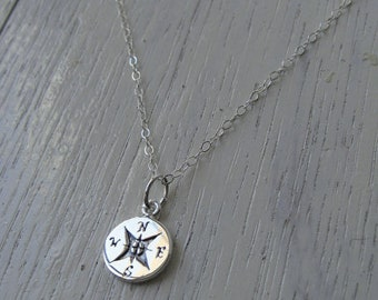 Tiny Compass Choker Necklace, 925 Sterling Silver, Graduation Gift, New Journey, Travel Jewelry, Cute Compass Choker, Enjoy The Journey