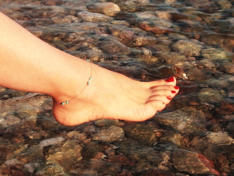 Beach Women Anklet Turquoise Anklet 14k Gold Fill or Sterling Silver Moonstone Ankle Bracelet