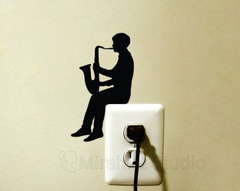 Boy Play Saxophone Light Switch Wall Sticker - Jazz Fabric Wall Decal - Cool Instrument Decor - Music Room Decor - Gift for Music Lover