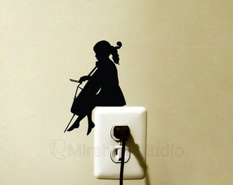 Little Girl Playing Cello Light Switch Sticker - Cellist Kid Wall Decor - Music Wall Decal - Gift for Musician - Girl Musician Room Decor