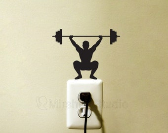 Weightlifting Light Switch Fabric Sticker - Fitness Vinyl Wall Decal - Sport Wall Art - Crossfit Laptop Stickers - Weight Lifter Gifts