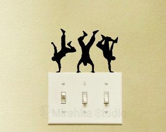 Break Dance Light Switch Velvet Stickers - Set Of 3 Hip Hop Dancers Wall Decor - Cool Laptop Decal - Modern Dance Vinyl Car Stickers