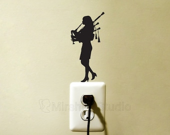 Walking Piper Player Light Switch Fabric Sticker - Standing Bagpipes Decal - Cool Music Wall Art - Piper Silhouette - Scottish Gifts