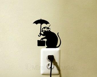 Banksy Rat & Umbrella Vinyl Wall Sticker - Car Sticker - Street Art Laptop Decal - Mac Decal Sticker - Cool Dorm Decor - Cool Gift Ideas
