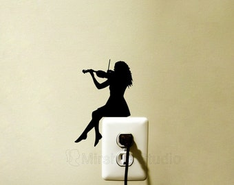 Girl with Curly Hair Playing Violin Light Switch Fabric Decal  - Violinist Wall Sticker - Classical music Wall Art - Woman Violin Decor