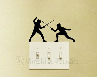 Fencing Light Switch Fabric Stickers - Sword Play  Wall Decal - Fencers Laptop Sticker - Sports Lover iPad Decor - Kids Room Wall Art