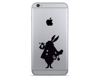 White rabbit  iPhone 6 Decals - iPhone 6 Plus Sticker - Fabric Decal - Alice In Wonderland Vinyl Stickers - Galaxy s7 decals - Nexus Sticker