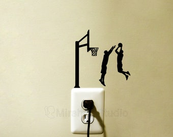 Two Basketball Players Light Switch Fabric Stickers - Sport Room wall Decor - Jumping Men Art - Dunking Laptop Decals - Basketball Gift -