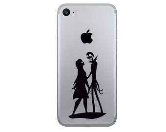 Jack Skellington and Sally iPhone 7 Stickers - Samsung Galaxy s8 Nightmare Before Christmas Decals- iPhone 6 Plus Decor - iPhone 7 Stickers
