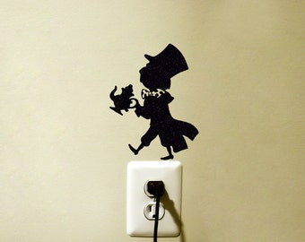 Mad Hatter Velvet Wall Sticker - The Hatter Vinyl Wall Decal - Alice In Wonderland Laptop Sticker - Movie Wall Decor -
