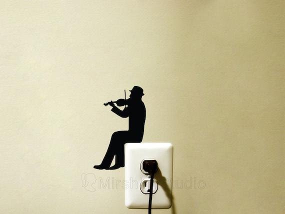 Violinist Light Switch Velvet Decal Violin Wall Sticker | Etsy