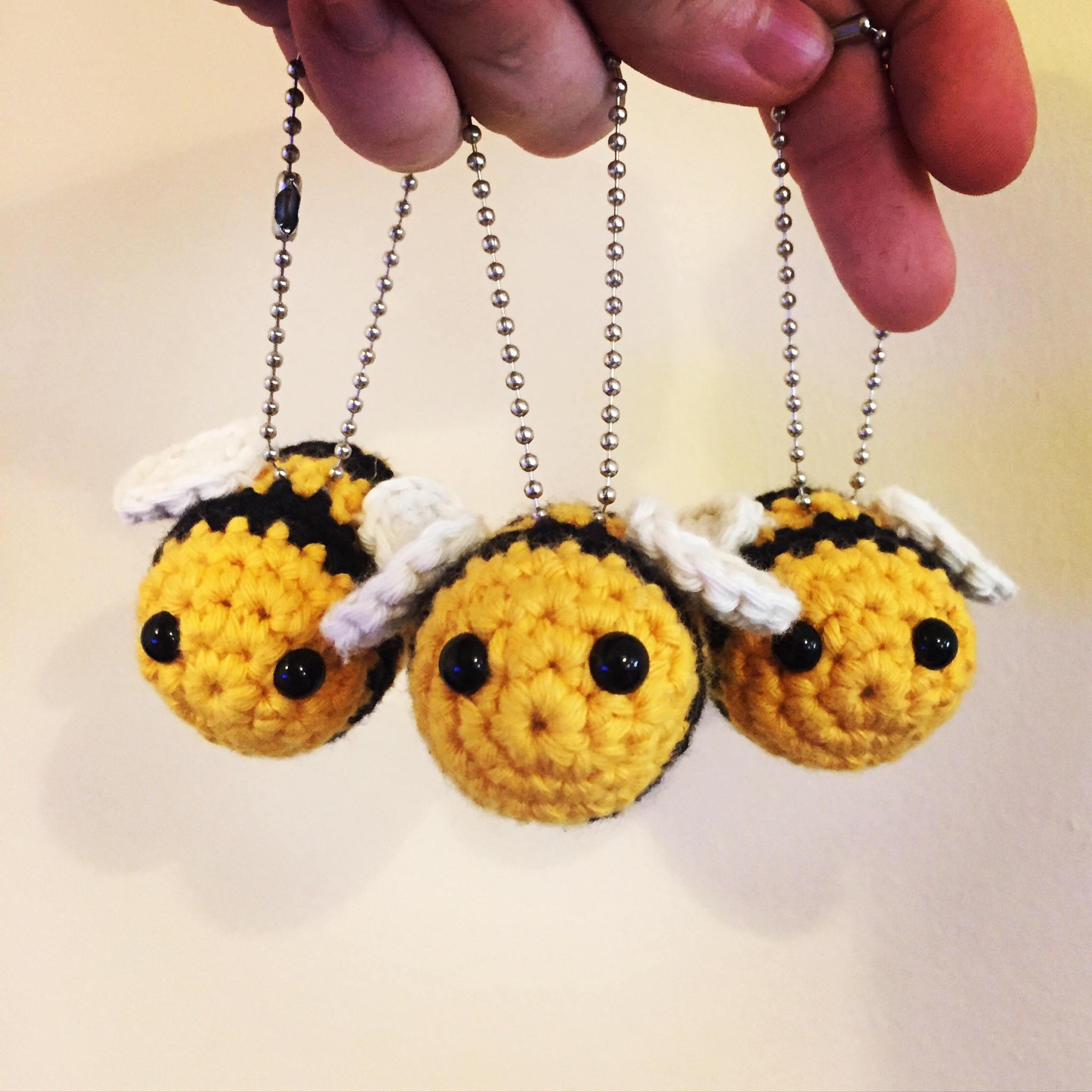 Bumble Bee Handarbeit häkeln Schlüsselanhänger
