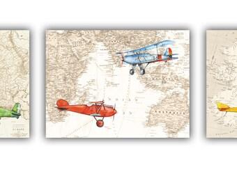 Items Similar To Vintage Airplane Printable Print Airplanes On World - Vintage aviation maps