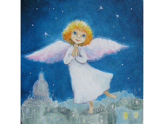 Christmas Angel.Christmas Angel Decor Angel Print Guardian Angel Art Angel Flying Nursery Decor Religious Art New Baby Gift