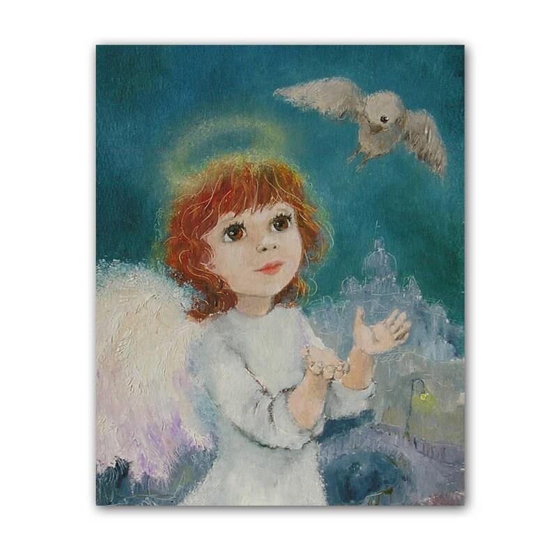 Engel Schutzengel Dekor und Vogel Druck Weihnachtsengel   Etsy