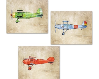 Airplane nursery prints Vintage airplanes Old paper decor Set THREE prints Boys nursery transportation wall art Models military airplanes