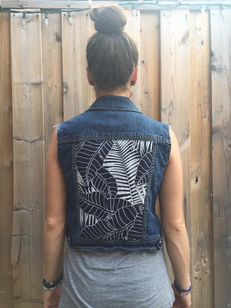 606d2359d8 Indigo Palm Leaf Print Second hand denim vest