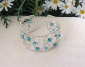 Turquoise and Silver Wire Swirl Cuff. Gemstone Cuff Bracelet.   Handmade Bracelet   December Birthday