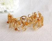 Baltic Amber Freeform Gold Wire Cuff Bracelet.     Gold Wire Cuff.    Baltic Amber.    Handmade Bracelet