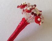 Red and Ivory Button Bouquet.  Small Flower Girl Bouquet.  Alternative Bouquet.  Keepsake Bouquet.     Bridesmaid Bouquet