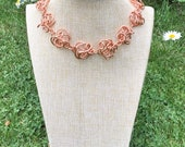 Freeform Copper Wire Necklace.  Chunky Statement Necklace.   Adjustable Handmade Necklace.