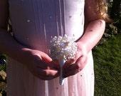 Button Bouquet - Ivory Bridesmaid Posy .  Flower Girl Posy.   Small Wedding Posy