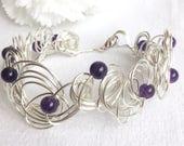 Amethyst Freeform Silver  Wire Cuff Bracelet        Silver Wire Bracelet.      Gemstone Bracelet.     February Birthday
