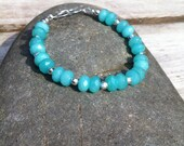 Aquamarine and Sterling Silver Bracelet   March Birthstone Bracelet.   Gemstone Bracelet