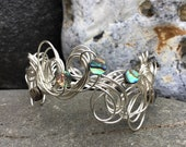 Abalone Shell Silver Wire Cuff Bracelet.      Silver Wire Bracelet.       Handmade Wire Bracelet