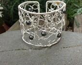 Hematite Wire Scroll Cuff    Handmade Wire Cuff Bracelet   Adjustable Bracelet