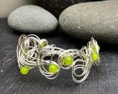 Vibrant Peridot Gemstone  Silver Wire Swirl Cuff Bracelet.       August Birthstone Bracelet  Silver Wire Bracelet.      Gemstone Bracelet