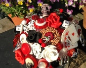 Rockabilly  Button Bouquet.   Red, Black and White Bouquet Keepsake Bouquet     Alternative Bouquet.  Allergy Free Bouquet